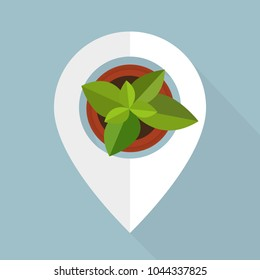 Pointer with flower- graphic for business design, infographics, reports or workflow layout in flat style