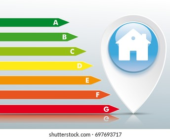 Pointer with house building and energy certificate on the gray mirror background. Eps 10 vector file.