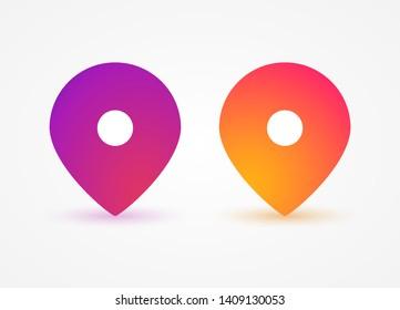 Pointer, location icons, symbols colorful gradient with shadow. Social media pointer marker mockup. Web elements, app, ui. Social media concept. Vector illustration. EPS 10