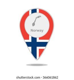 A pointer with map and flag of Norway