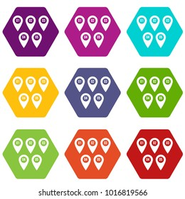 Pointer marks icon set many color hexahedron isolated on white vector illustration