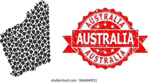 Pointer mosaic map of Western Australia and grunge ribbon seal. Red stamp seal contains Australia tag inside ribbon. Abstract map of Western Australia is designed with scattered guide elements.