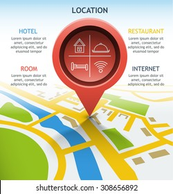 pointer object location on the map diagram infographics
