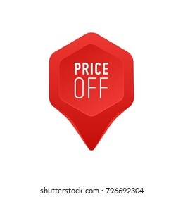 Pointer For Sale Or Discount Price Off Tag Icon Red Point Arrow On White Background Vector Illustration Shopping Special Offer Sign