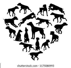 A Pointer or similar dog heart silhouette concept for someone who loves their pet