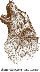 Pointillism Drawing Vektor of Wolf