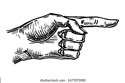 Pointing female finger. Vector black vintage engraved illustration isolated on a white background. Hand sign for web, poster, info graphic