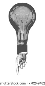 Pointing finger on bulb symbolizes paradoxical creative idea. Vector hand drawn concept sketch. Vintage stylized drawing. Vector illustration in a retro woodcut style