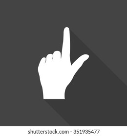 pointing finger vector icon with long shadow