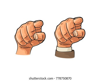 Pointing finger at viewer, from front. Vector color engraving vintage illustration isolated on a white background. Male hand in sleeve suit and without. Sign for web, poster, info graphic