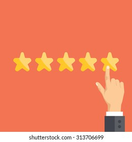 Pointing hand and five stars. Customer reviews, rating, user feedback concept. Modern flat design concepts for web banners, web sites, printed materials, infographics. Creative vector illustration