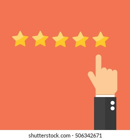 Pointing hand and five stars. Customer reviews, rating, user feedback concept.