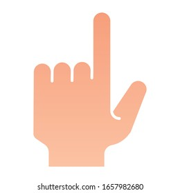 Pointing hand flat icon. Pointing finger vector illustration isolated on white. Click gradient style design