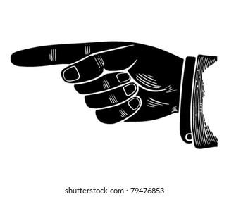Pointing Hand Graphic - Retro Clipart Illustration