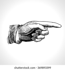 Pointing hand. Vector of pointing finger, vintage gravure style.