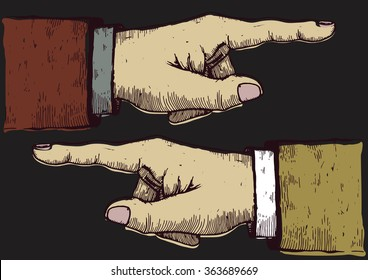 pointing hands. hand drawn engraved illustration