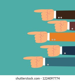 pointing hands. Hand with pointing finger. Stock flat vector illustration.