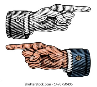Pointing male hand. Engraved Forefinger directs. Sketch in vintage retro style. Close up arm gesture in monochrome style. Business concept for web site or label.