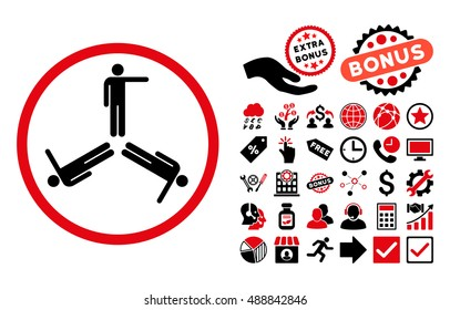 Pointing Men pictograph with bonus pictogram. Vector illustration style is flat iconic bicolor symbols, intensive red and black colors, white background.