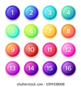Pointing number on gradient bullet button icon. Colorful blue green purple yellow pink cyan orange 3D circle buttons with point numbers on ball bullets isolated vector elements icons set