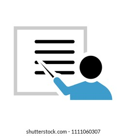 pointing on whiteboard icon, vector business presentation - office seminar or training illustration