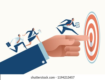 Pointing to Target. Businessman's hand pointing to the target. Business vector concept illustration