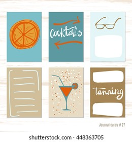 points, cocktail. Vector design templates for journal cards, scrapbooking cards, greeting cards, gift cards, patterns, blogging. Planner cards. Cute doodle. Printable templates set.