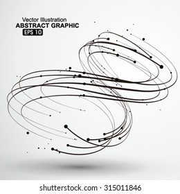 Points and curves of spiral abstract graphics.