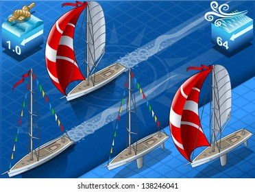 Points of Sail Isometric 3D Flat Style Set. Sail Boat Mainsail Jib and Spinnaker in Various Positions. Isometric Nautical Ship Collection to Build Regatta Infographic Diagram Illustration.