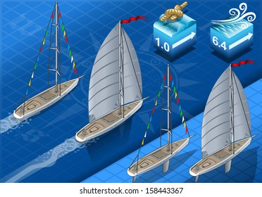 Points of Sail Isometric 3D Flat Style Set. Sail Boat Mainsail Jib Spinnaker in Various Positions. Nautical Ship Collection Build Regatta Infographic or Diagram.Isometric Sail Ship Vector Illustration