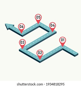 points and steps on road route to goal. Business map pointers to success. vector illustration in isometric style modern design.