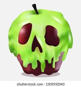 Poison apple for halloween. Vector art