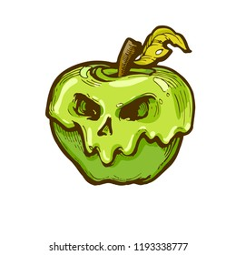 Poison apple with scull face icon, black and white hand drawn line art, stock vector illustration isolated on white background