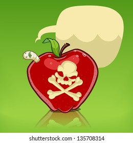 poison apple with skull and crossbones isolated on white. worm in the apple with dialog balloon. cartoon illustration
