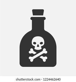 Poison in a bottle. Flat vector icon