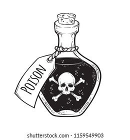 Poison in bottle line art and dot work hand drawn vector illustration. Boho style sticker, patch, print or blackwork flash tattoo design