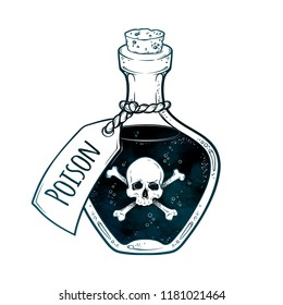 Poison in bottle line art and dot work hand drawn vector illustration. Boho style sticker, patch, print or blackwork flash tattoo design