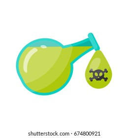 Poison bottle vector flat icon, Flat design of toxic, dangerous or medicine isolated on the white background, cute vector illustration with reflections