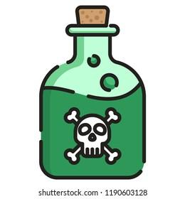 Poison bottle vector illustration in line color design