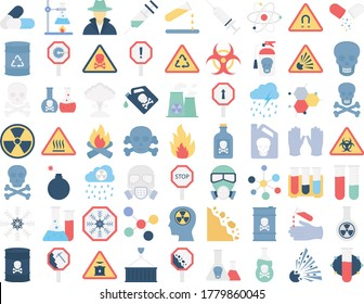 Poison & Danger Symbols Vector icons set every single icon can be easily modify or edit