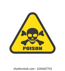 Poison danger warning sign icon toxic hazard triangle with skull or cranium and crossbones prohibition flat symbols logo illustration isolated on white background.Concepts science and chemicals.