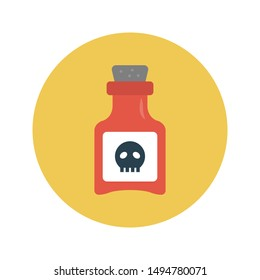 poison glyph flat vector icon