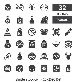 poison icon set. Collection of 32 filled poison icons included Poison, Radioactivity, Radioactive, Gas mask, Skull, No smoking, Nuclear, Potion, Scorpion, Eyepatch, Elixir, Frog