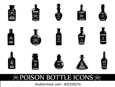 Poison icons,Potion Bottle,Medicine bottles vector icons set