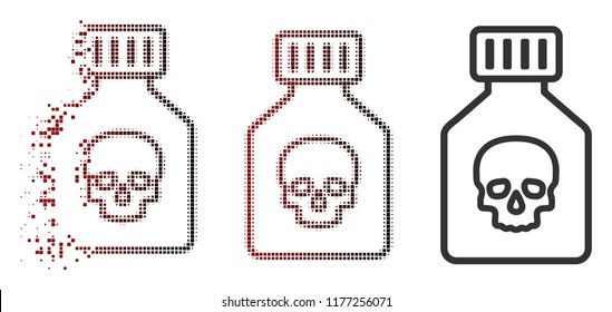 Poison phial icon in sparkle, dotted halftone and undamaged entire versions. Particles are combined into vector dispersed poison phial symbol.