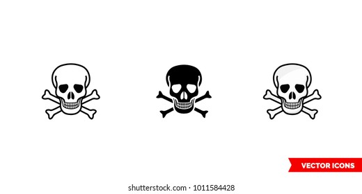 Poison sign skull and crossbones icon of 3 types: color, black and white, outline. Isolated vector sign symbol.
