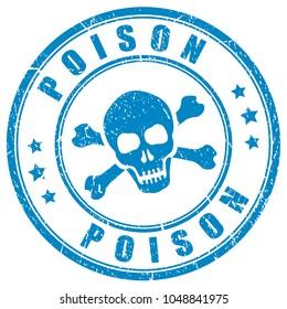 Poison skull vector stamp isolated on white background