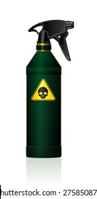 Poison spray bottle for plant toxins, insecticides, pesticides, biocides and etc - with a black skull on a yellow triangle as a hazard warning sign for toxicity. Isolated vector on white background.