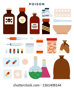Poison, toxic substances, meds, liquids in plastic and glass jars. Tablets, capsules, powders in different forms. Flasks with liquids, various packages of poison substances. Vector illustration.