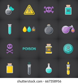 Poison vector flat icon set, Flat design of danger, toxic medical or magical symbols isolated on the dark background, vector illustration